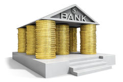 Bank icon. With gold coins columns (3d render Royalty Free Stock Photos