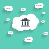 Bank icon, and cloud with text Stock Images