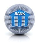 Bank icon on globe formed by dollar sign Royalty Free Stock Photo