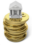 Bank icon with gold coins. 3d illustration of a symbolized bank over stacked gold coins Stock Images