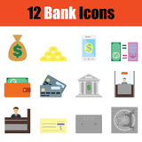 Bank icon set. Color flat design. Vector illustration Stock Image
