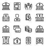 Bank icon set in thin line style Stock Photography