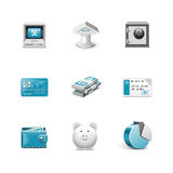 Bank icons. Azzuro series. Bank icons. Work well for any background Stock Photography