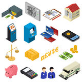 Bank Icons Color Set Isometric View. Vector. Bank Icons Color Set Isometric View Finance Business Money Symbol  on White Background. Vector illustration Royalty Free Stock Photos