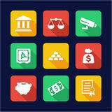 Bank Icons Flat Design Royalty Free Stock Images