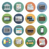Bank Icons Flat Set. With atm money trading finance check isolated vector illustration Royalty Free Stock Photography