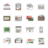 Bank Icons Outline. Set with financial investment and salary symbols isolated vector illustration Stock Photos