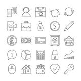 Bank icons set. Line icons of banking theme Stock Photos