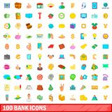 100 bank icons set, cartoon style. 100 bank icons set in cartoon style for any design illustration stock illustration