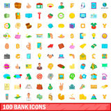 100 bank icons set, cartoon style. 100 bank icons set in cartoon style for any design vector illustration Stock Photography