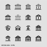 Bank icons set. Finance and business vector icon set in black color button frame Stock Image
