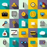 Bank icons set, flat style. Bank icons set in flat style for any design Stock Image