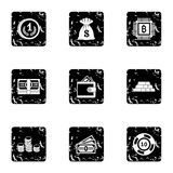 Bank icons set, grunge style. Bank icons set. Grunge illustration of 9 bank vector icons for web Royalty Free Stock Photography