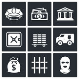 Bank icons set Royalty Free Stock Photos