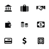 Bank 9 icons set. Isolated, black on white background Royalty Free Stock Photos