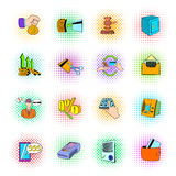 Bank icons set, pop-art style. Bank icons set in pop-art style on a white background Stock Photos