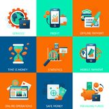 Bank icons set. With services profit offline payments time is money isolated vector illustration Stock Image