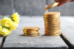 Bank idea, hand holding gold coins and nice flowers Stock Photo