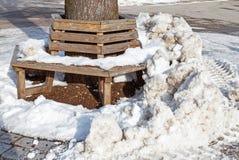 Bank in ijs en sneeuw wordt behandeld die stock foto's