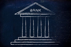 Bank illustration. Concept of choosing the best bank account for your needs Stock Image