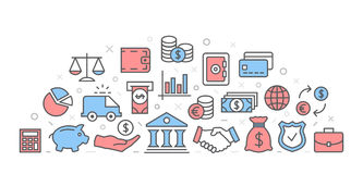 Bank Illustration with icons. And signs Royalty Free Stock Photo