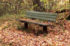 Bank im Herbstpark Stockfotografie