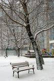 Bank im Schnee Stockfotos