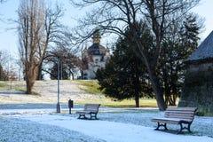 Bank im Winter Stockfoto