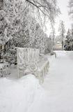 Bank im Winterpark Lizenzfreies Stockfoto