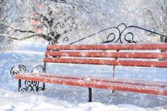 Bank im Winterpark Stockbild