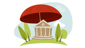 Bank insurance protection umbrella. Banking insurance protection illustration in vector bank building umbrella Stock Images