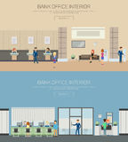 Bank interior or department with cashier royalty free illustration