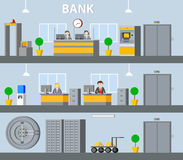 Bank Interior Horizontal Banners. With reception manager workplace atm elevator water cooler safe deposit boxes plants vector illustration Stock Photos