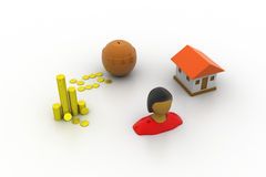 Bank investment and a house Stock Photo