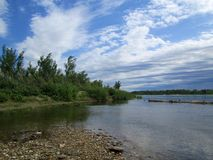 On the bank of the Irtysh river royalty free stock photo