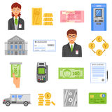 Bank Isolated Color Icons. Bank flat color icons set of coins safe box armored truck contract page bank building isolated vector illustration Royalty Free Stock Images