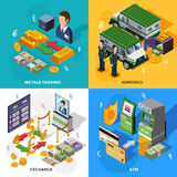 Bank 2x2 Isometric Design Concept. Set with armored trucks cash machines metals trading and exchange rate compositions vector illustration Stock Photography