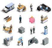 Bank Elements Isometric Icons Set. Bank isometric elements collection with customer service financial analyst bookkeeper credit card armored truck isolated vector illustration
