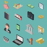Bank Isometric Icon Set. With 3d briefcase money exchange businessman isolated  illustration Royalty Free Stock Photography