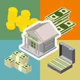 Bank  isometric icons Royalty Free Stock Image