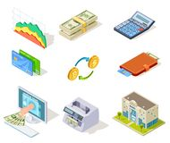 Bank isometric icons. Internet banking, money and checkbook, loans and cash currency, credit card business finance vector illustration