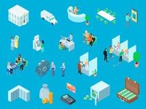 Bank Isometric Icons Set. Bank set of isometric icons including people, money, vehicle, online service on blue background isolated vector illustration Royalty Free Stock Photography