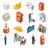Bank Isometric Icons Set. Bank Icons Set. Bank Isometric Vector Illustration. Bank Flat Symbols. Bank Design Set. Bank Elements Collection Stock Photography