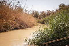 Bank of the Jordan river. Holy place of Christianity. The Israeli Bank of the Jordan river. The place of christening of Jesus Christ. The state border of Israel Royalty Free Stock Images