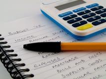 bank kalkulator liczby ochrony stylus szpilki Zdjęcia Stock