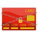 Bank karta w bezpieczeństwie, karta z łańcuchami i kłódka, royalty ilustracja