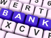 Bank Key Shows Online Or Electronic Banking Royalty Free Stock Images