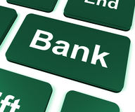 Bank Key Shows Online Or Internet Banking Royalty Free Stock Photo