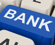 Bank Key Shows Online Or Internet Banking Stock Image