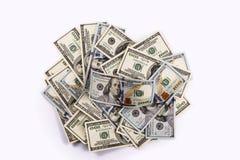 Bank, Kredit, 100, Dollar, Rechnungen, Finanzierung, Bargeld, auf einer Weißrückseite Lizenzfreie Stockfotografie